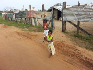 Children Outside Their Shacks, Mullaitivu